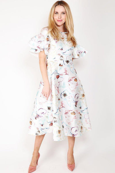 White World Map Print Dress-SinglePrice