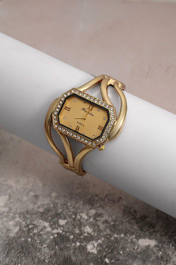 Gold Diamond Frame Gold Dial Watch-SinglePrice