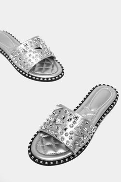 Silver Spike Studs Embellished Vegan Leather Sliders - SinglePrice