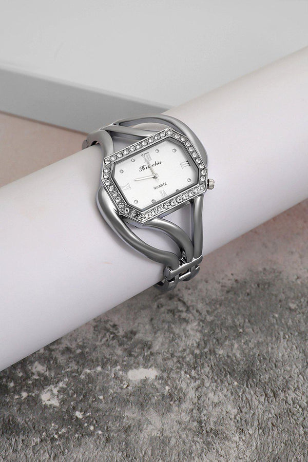 Silver Diamond Frame White Dial Watch-SinglePrice