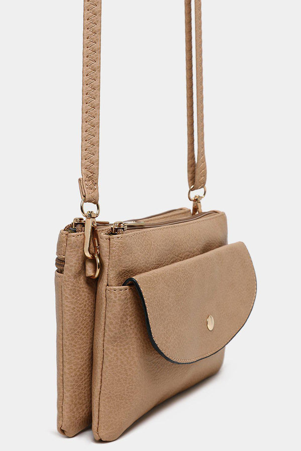 Beige Twin Compartment Vegan Leather Mini Shoulder Bag - SinglePrice