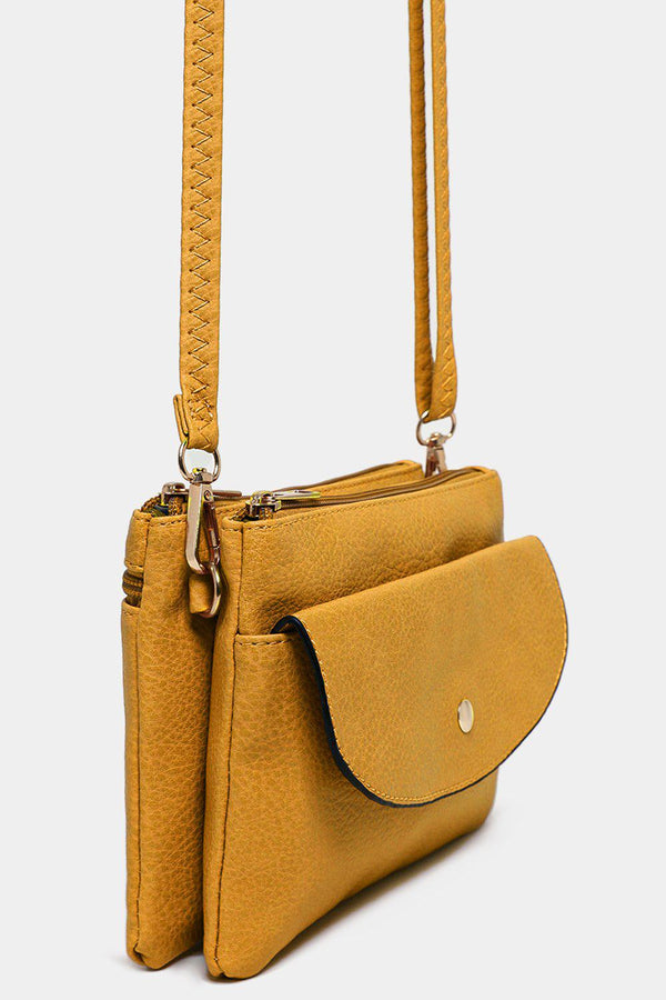 Mustard Twin Compartment Vegan Leather Mini Shoulder Bag - SinglePrice