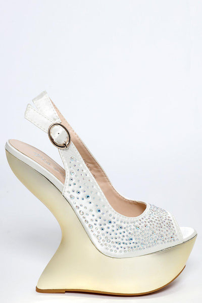 Crystals Embellished Gold Platform Off White Wedges-SinglePrice