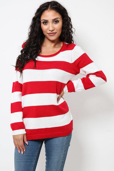 Oversized Red Stripes Pullover-SinglePrice