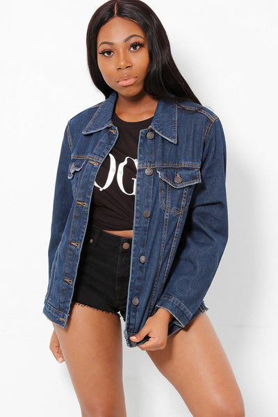 Double Stitch Details Classic Navy Jacket-SinglePrice