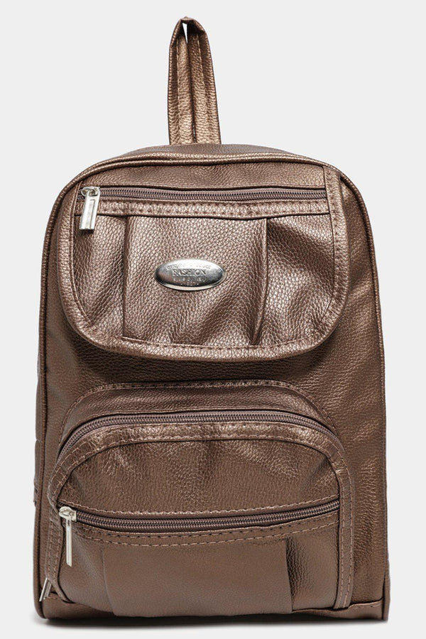 Bronze Multi-Pocket Vegan Leather Backpack-SinglePrice