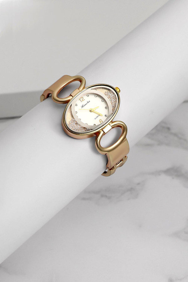 Gold Lose Crystal Panels Oval Watch-SinglePrice