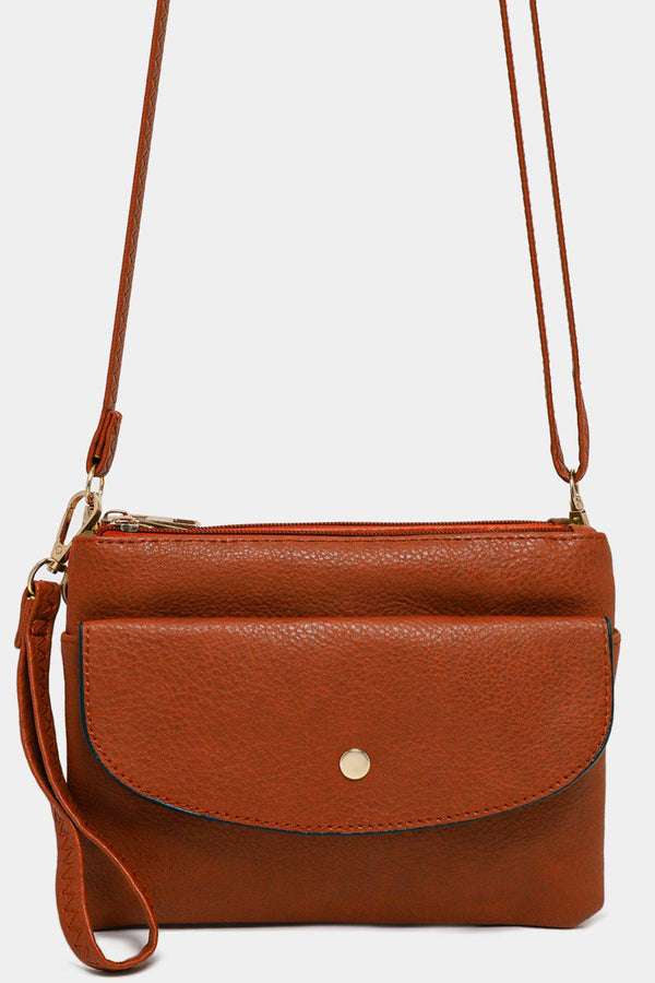 Brown Twin Compartment Vegan Leather Mini Shoulder Bag - SinglePrice