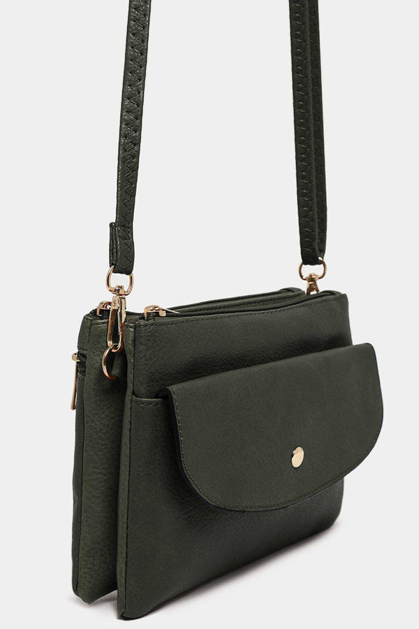 Green Twin Compartment Vegan Leather Mini Shoulder Bag - SinglePrice