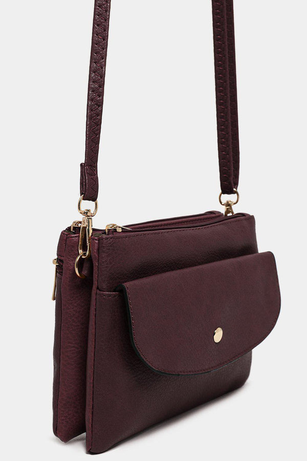 Purple Twin Compartment Vegan Leather Mini Shoulder Bag - SinglePrice