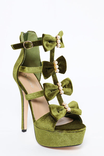 Green Velvet Stiletto Heels With Pearls And Bows-SinglePrice