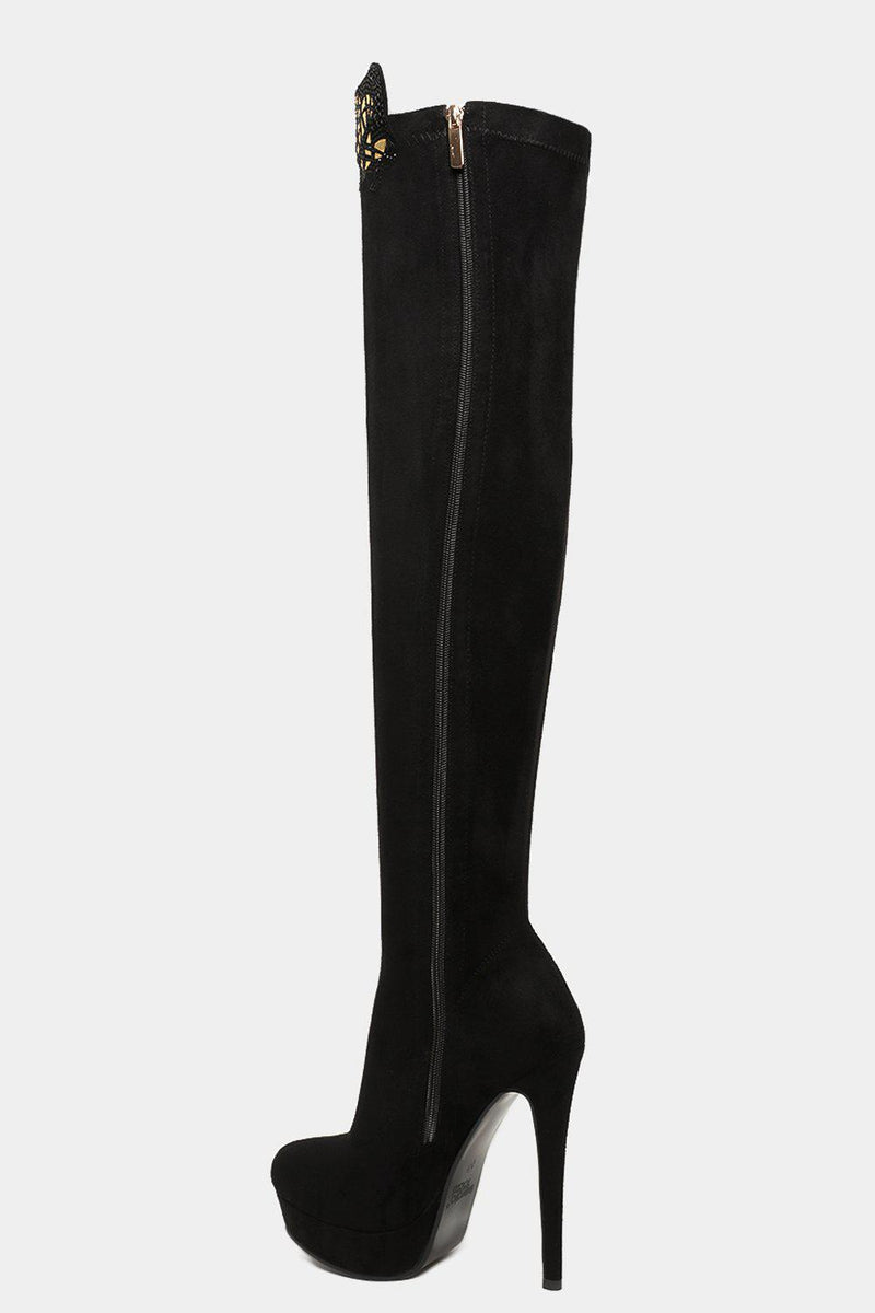 Black Vegan Suede Gold Mosaic Crystals Over The Knee Boots - SinglePrice