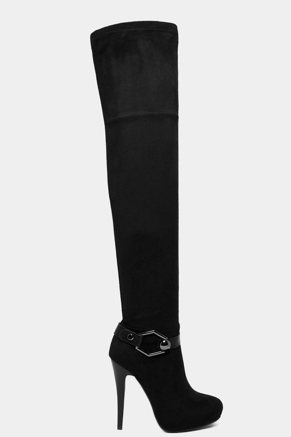 Black Vegan Suede Buckle Detail Over The Knee Boots-SinglePrice