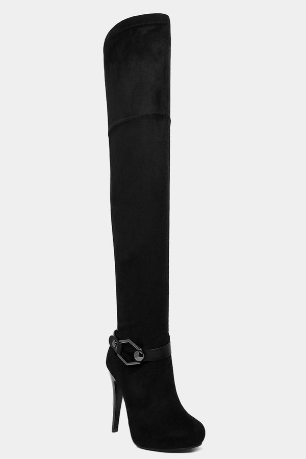 Black Vegan Suede Buckle Detail Over The Knee Boots - SinglePrice