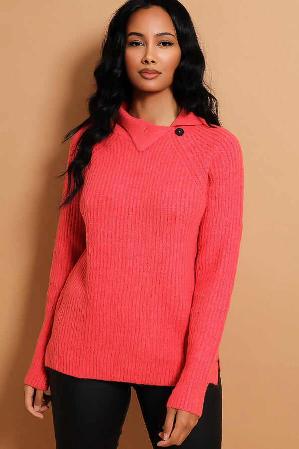 Pink Side Button Collar Pullover