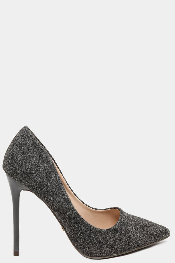Grey Felt Pointy Stiletto High Heels - SinglePrice