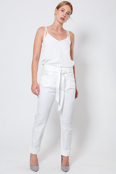 White Tie Belt Trousers-SinglePrice