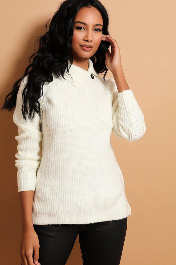 White Side Button Collar Pullover