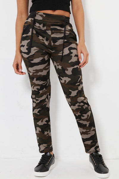 Contrast Details Black Camo Print Fleece Lined Leggings-SinglePrice