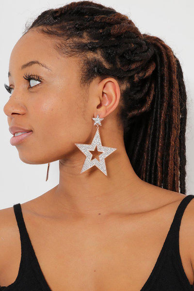 Double Stars Gold With Clear Crystals Earrings-SinglePrice