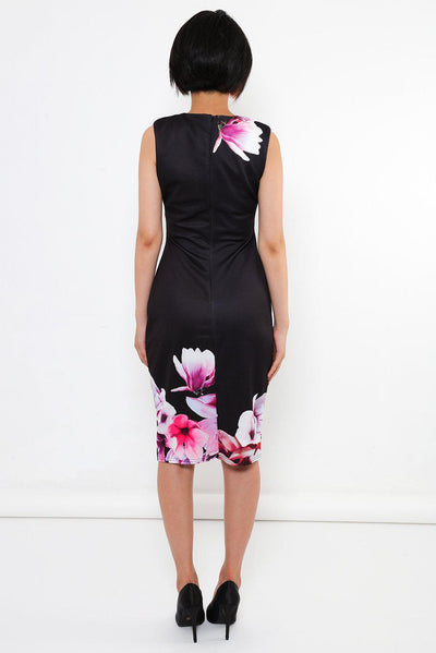 Floral Print Black Bodycon Dress-SinglePrice