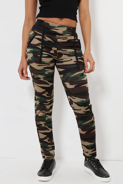 Contrast Details Green Camo Print Fleece Lined Leggings-SinglePrice