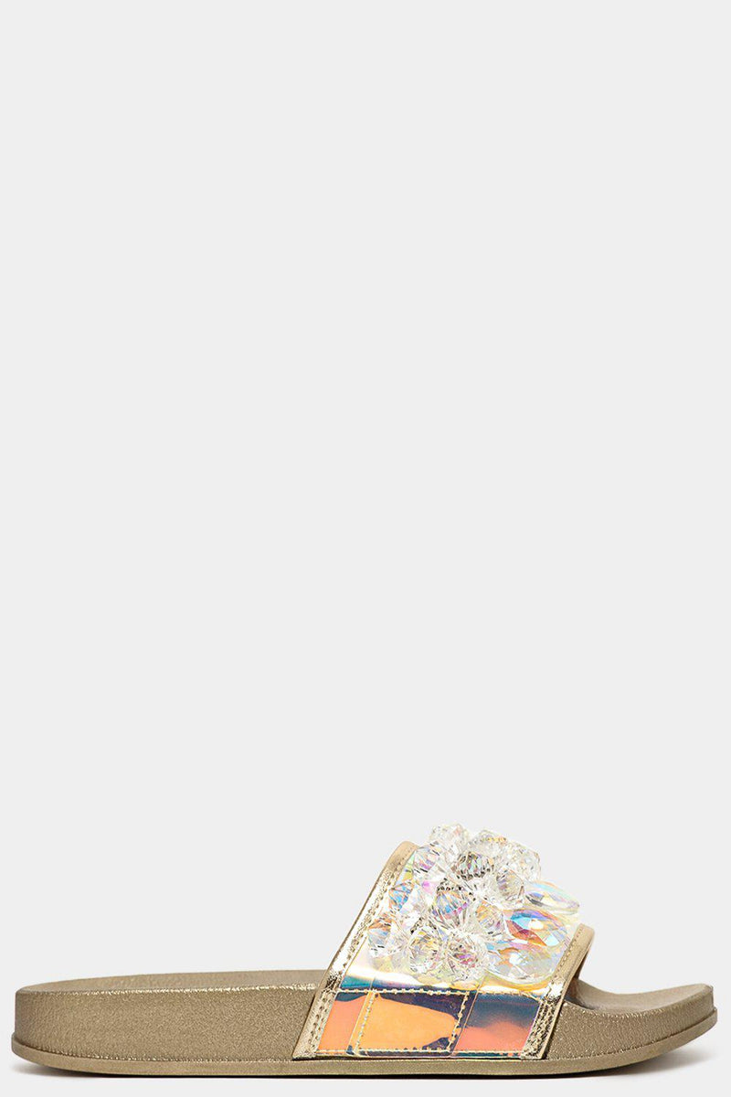 Gold Large Jewells Embellished Holographic Strap Sliders - SinglePrice