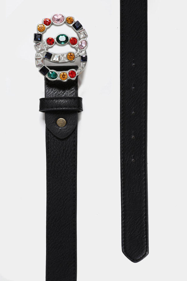 Multicolor Crystals Embellished Double Silver Ring Belt-SinglePrice