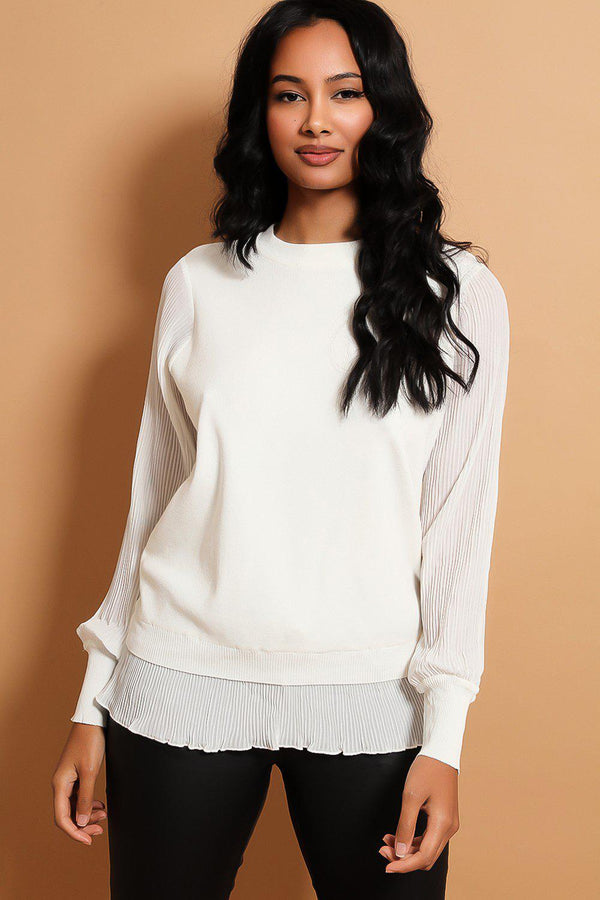 White Pleated Chiffon Details Flat Knit Pullover