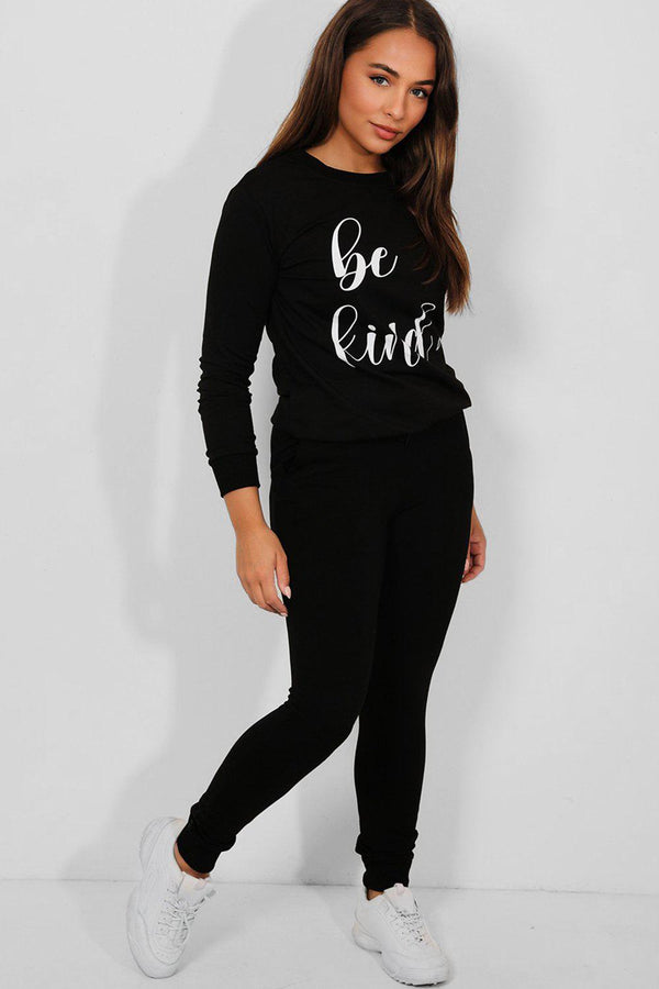 Black Be Kind Slogan Cotton Blend Tracksuit - SinglePrice
