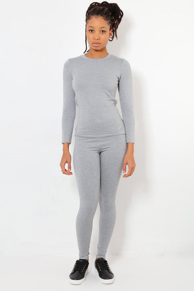 Light Grey Waist Tie Casual Top & Bottoms Set-SinglePrice