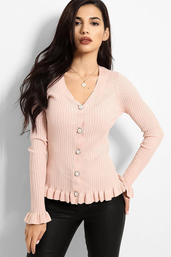Pink Frilled Trims Ribbed Trims Cardigan