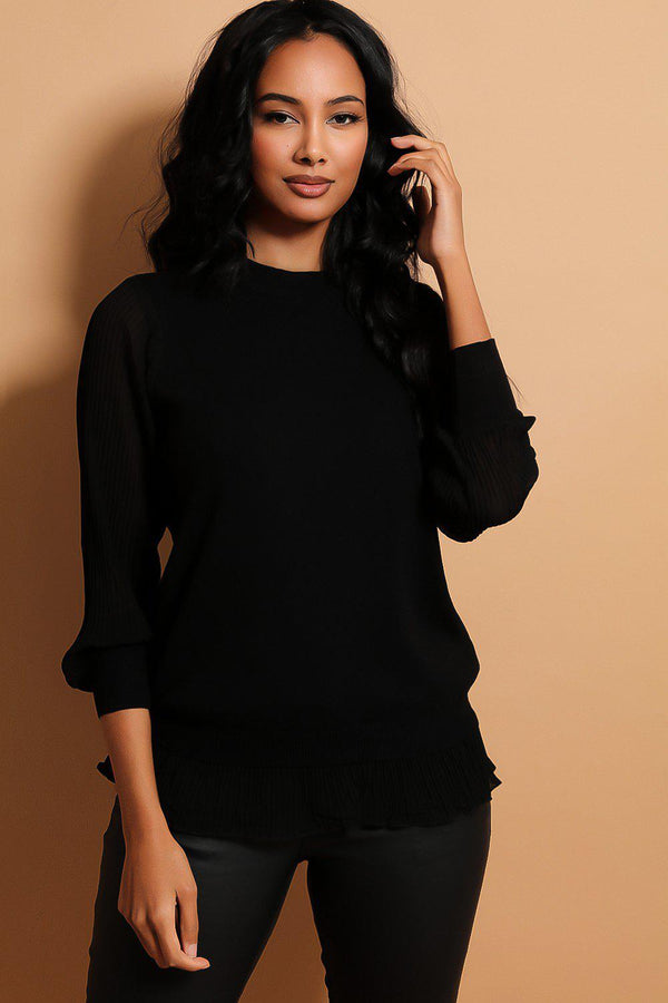 Black Pleated Chiffon Details Flat Knit Pullover