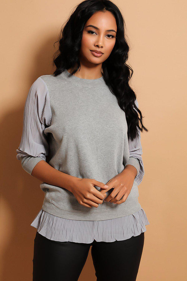 Grey Pleated Chiffon Details Flat Knit Pullover