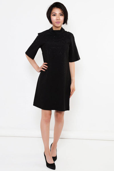 Black Crystals Embellished Shift Dress-SinglePrice