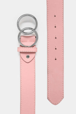 Pink Belt With Silver Double Ring - SinglePrice