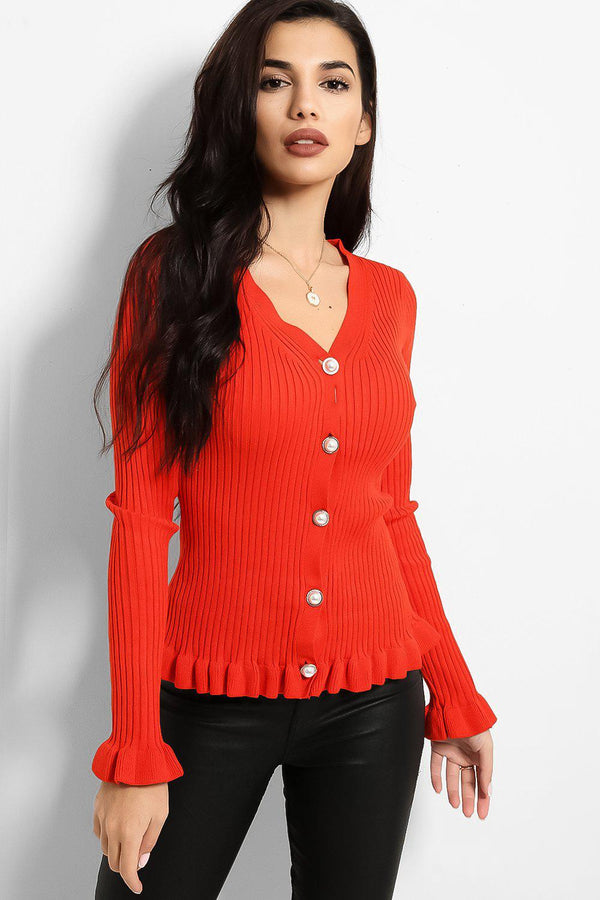 Coral Frilled Trims Ribbed Trims Cardigan