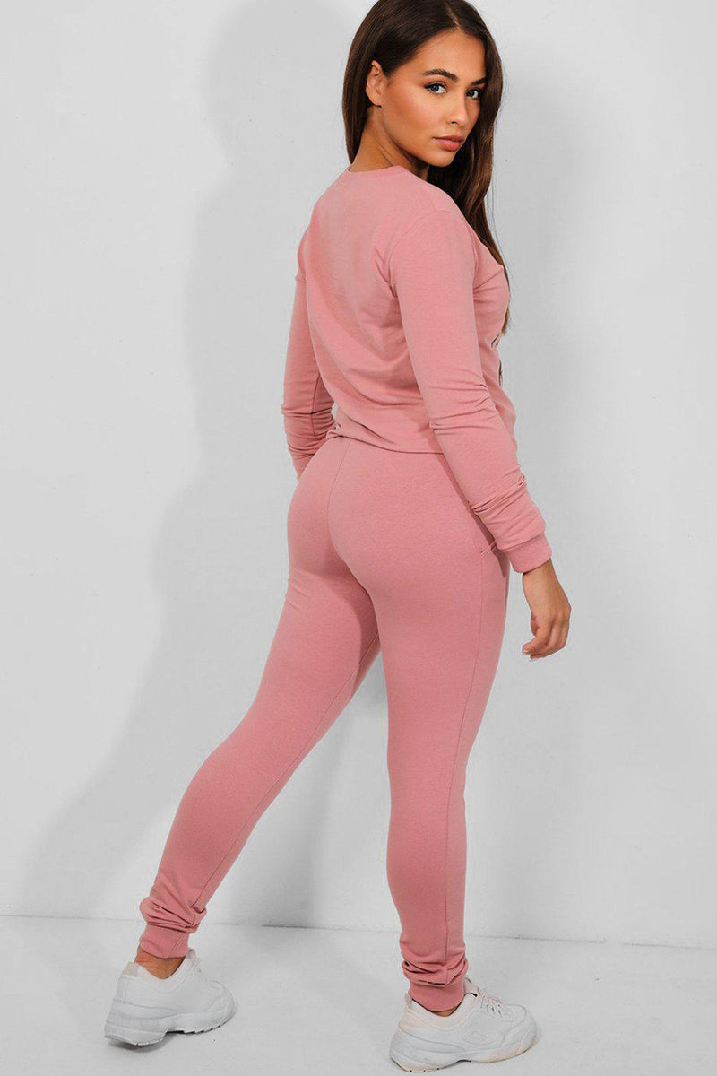 Pink Be Kind Slogan Cotton Blend Tracksuit - SinglePrice