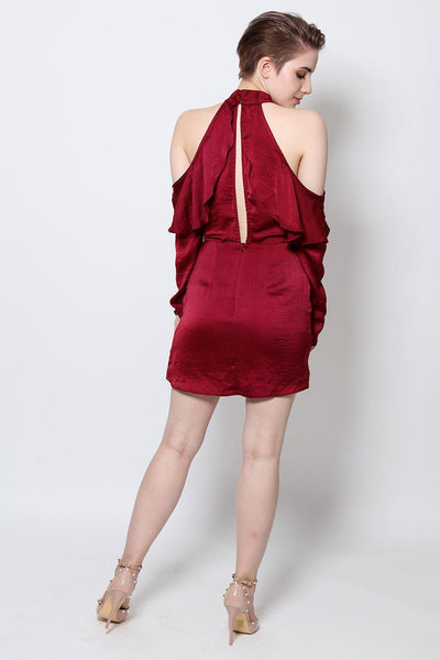 Cold Shoulder Ruffle Halter Dress-SinglePrice