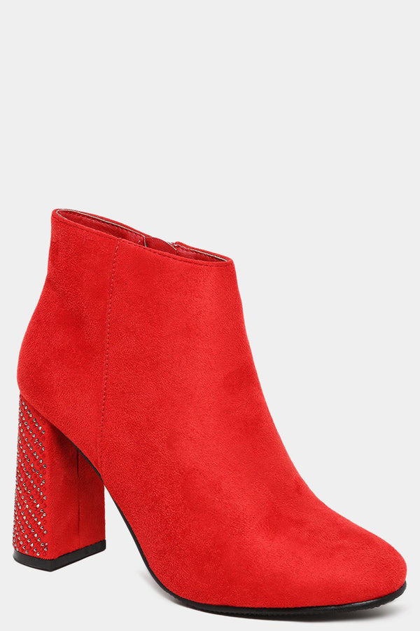 Red Crystals Embellished Block Heel Boots - SinglePrice