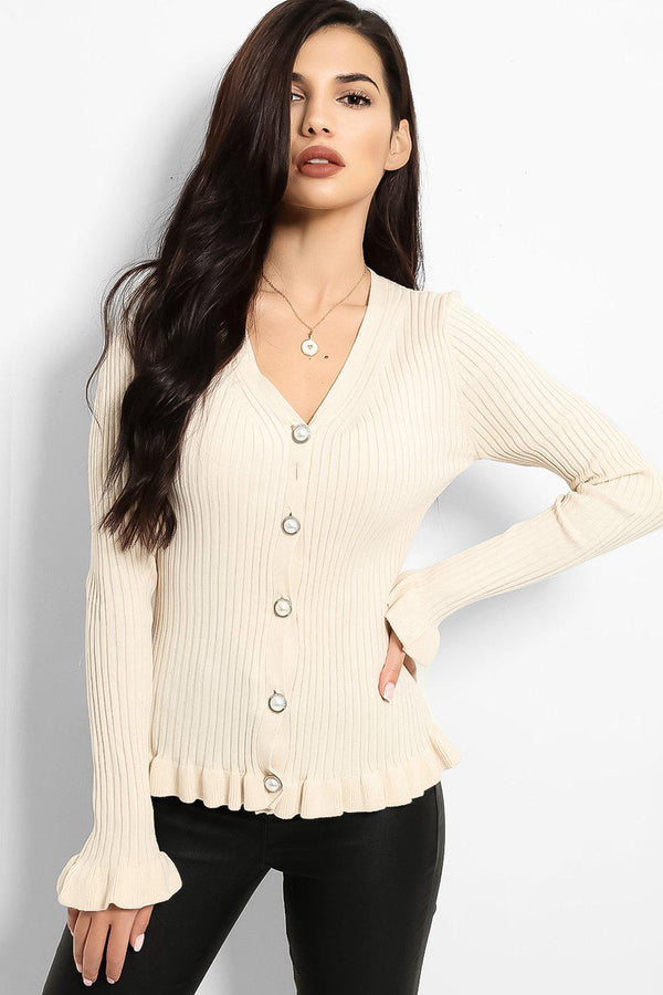 Beige Frilled Trims Ribbed Trims Cardigan