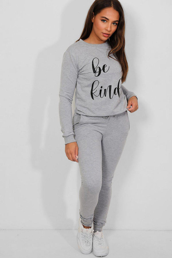Grey Be Kind Slogan Cotton Blend Tracksuit - SinglePrice