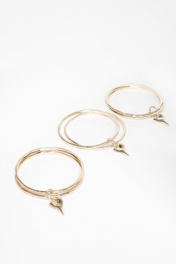 Pack Of 3 Gold Bangles With Heart Charm Bracelets-SinglePrice