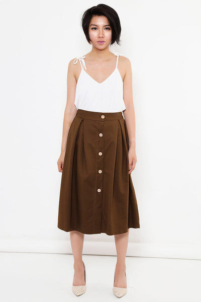 Pleated A-Line Brown Midi Skirt-SinglePrice