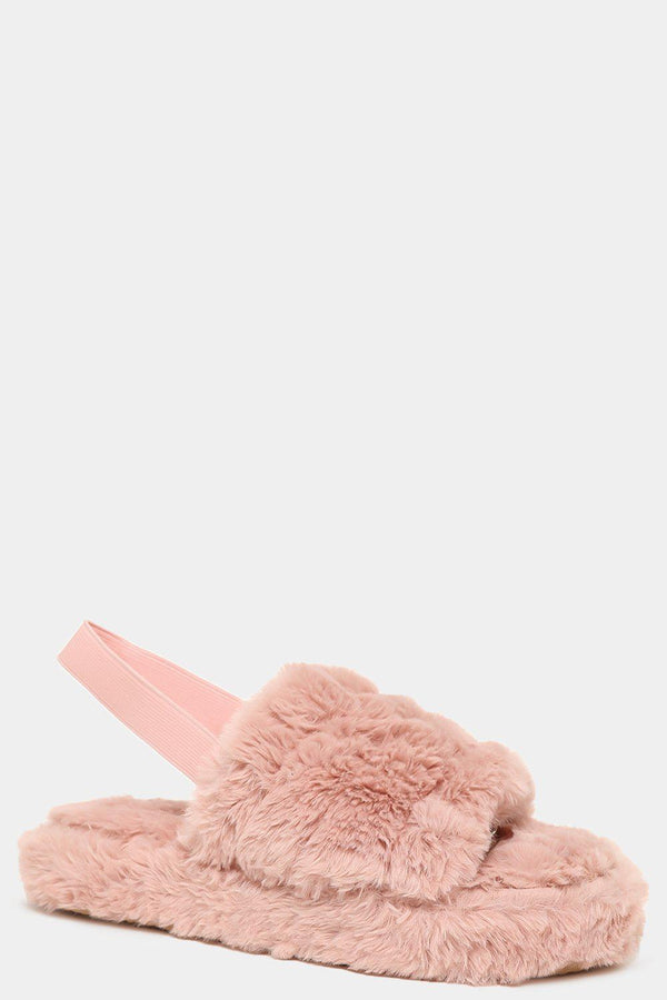Pink Fluffy Singback Slippers - SinglePrice