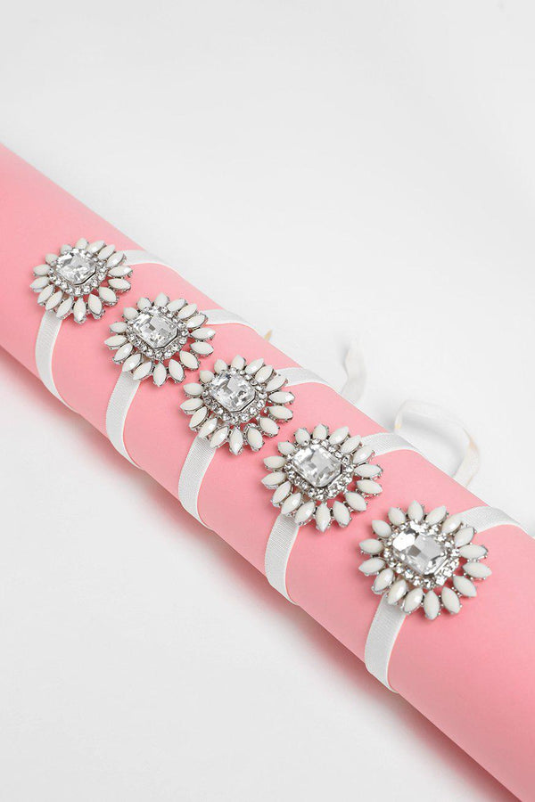 Pack Of 5 Cream Jewelled Bracelets-SinglePrice