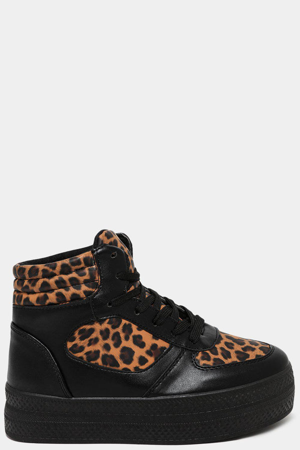 Leopard Print Panels Black Hi Top Trainers - SinglePrice