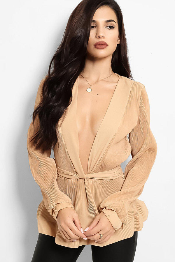 Camel Deep Plunge Waist Tie Pleated Blouse