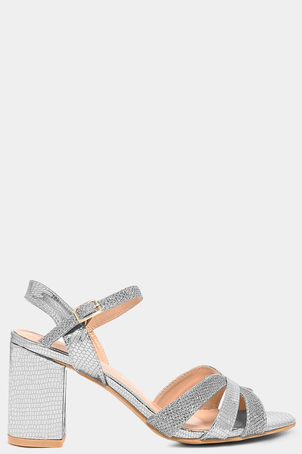 Silver Shimmer And Mock Croc Straps Heeled Sandals - SinglePrice