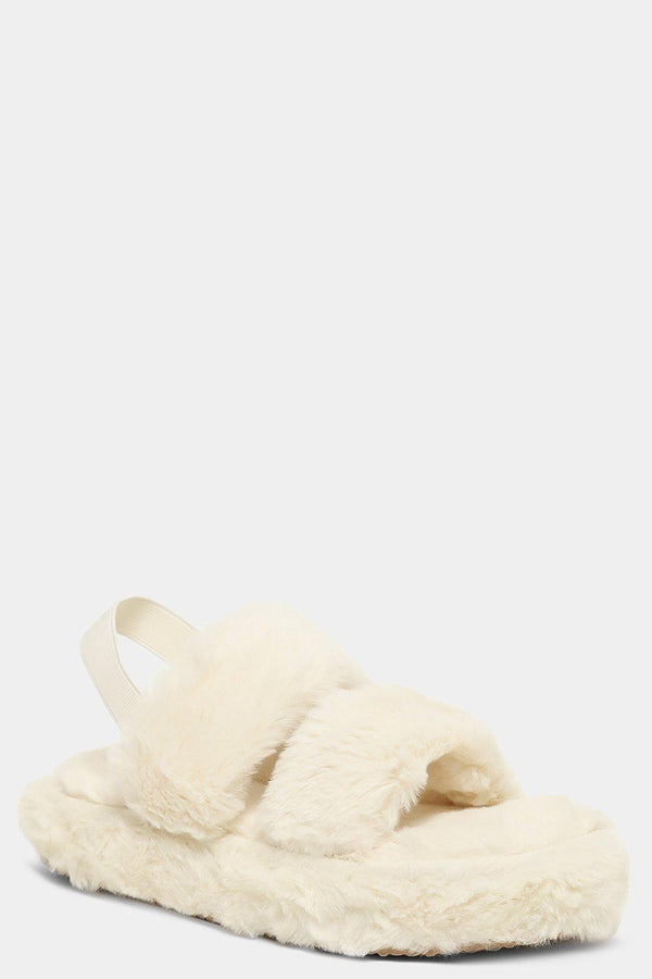 White Fluffy Twin Strap Singback Slippers - SinglePrice